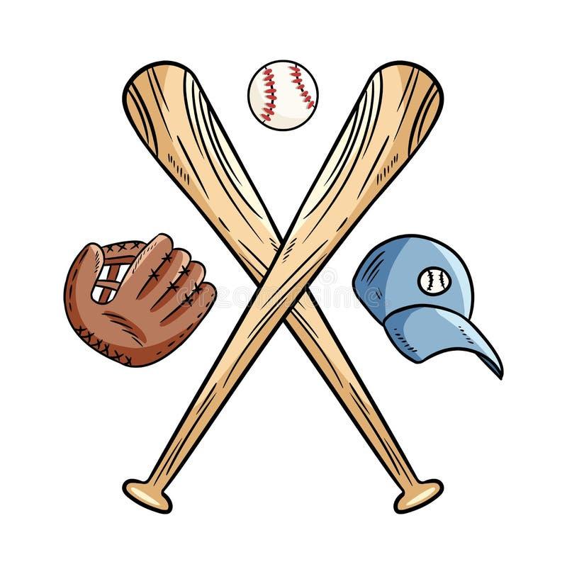 Dois cruzaram bastões de beisebol e bola, logotipo dos esportes do ícone Ilustra??o isolada vetor, Forma simples para o logotipo  ilustração do vetor
