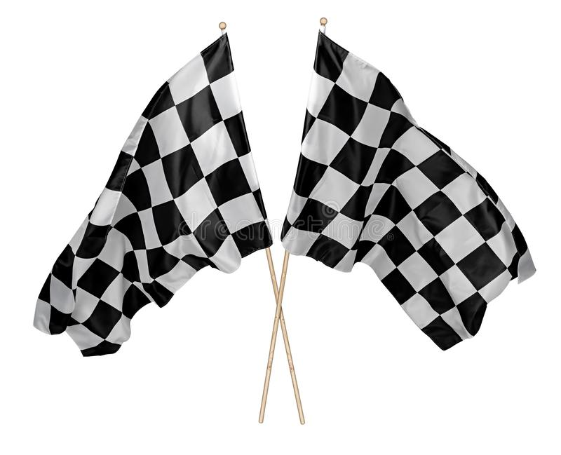 Dois cruzaram pares de acenar a bandeira chequered branca preta com o esporte de madeira do motorsport da vara que compete o fund foto de stock