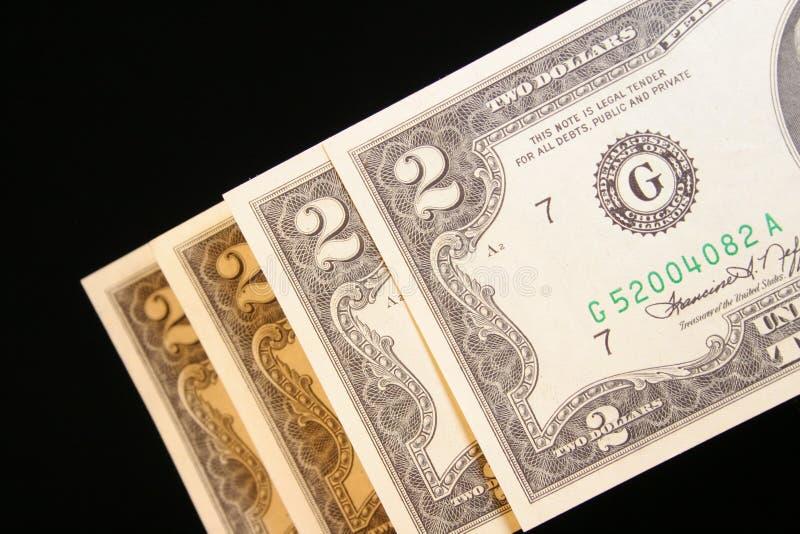 Dois Dólares Bill Imagens de Stock Royalty Free