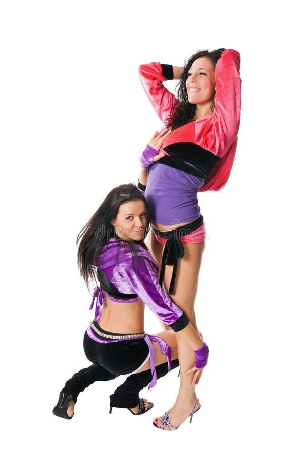 Dois dançarinos felizes go-go e da tira fotos de stock royalty free