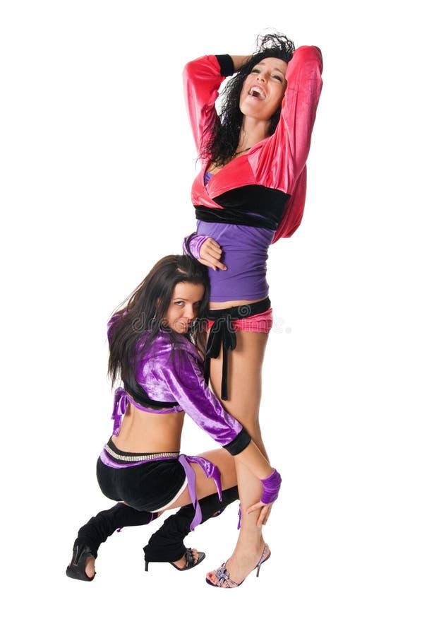 Dois dançarinos sensuais go-go e da tira foto de stock
