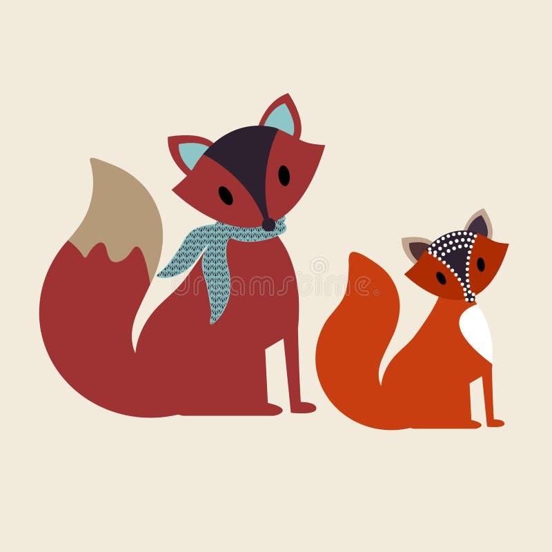 Dois decalques da raposa ilustração royalty free