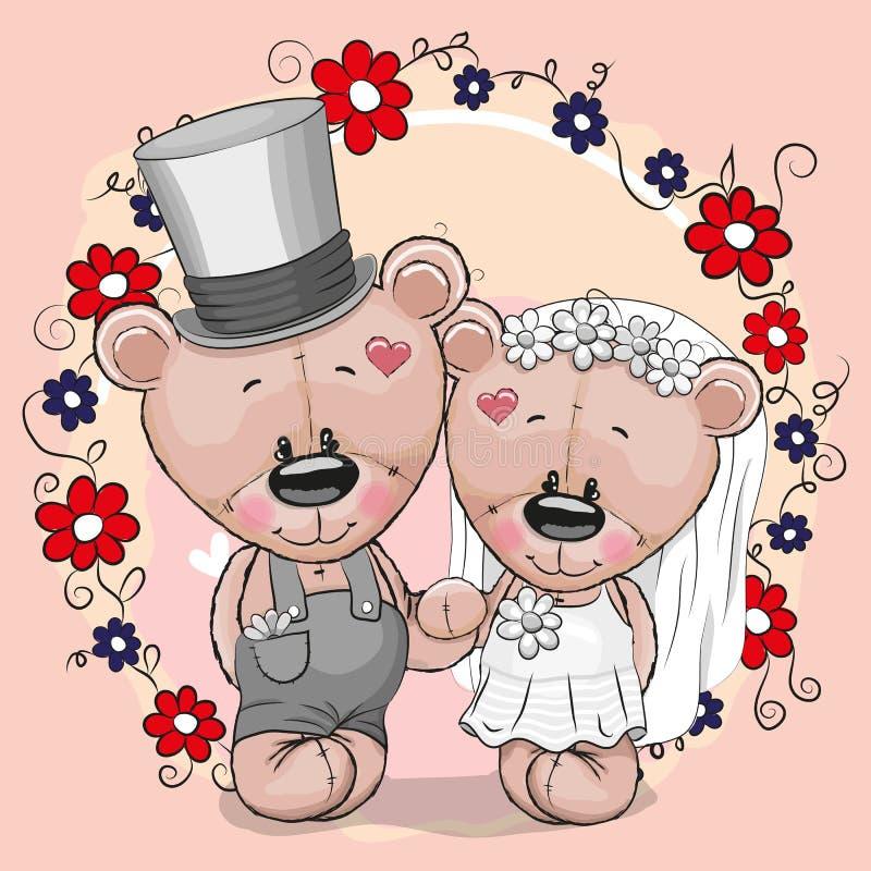 Dois desenhos animados bonitos Teddy Bears ilustração stock