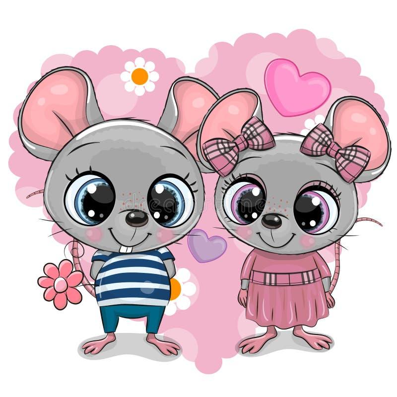 Dois desenhos animados Mouses em um fundo do coração