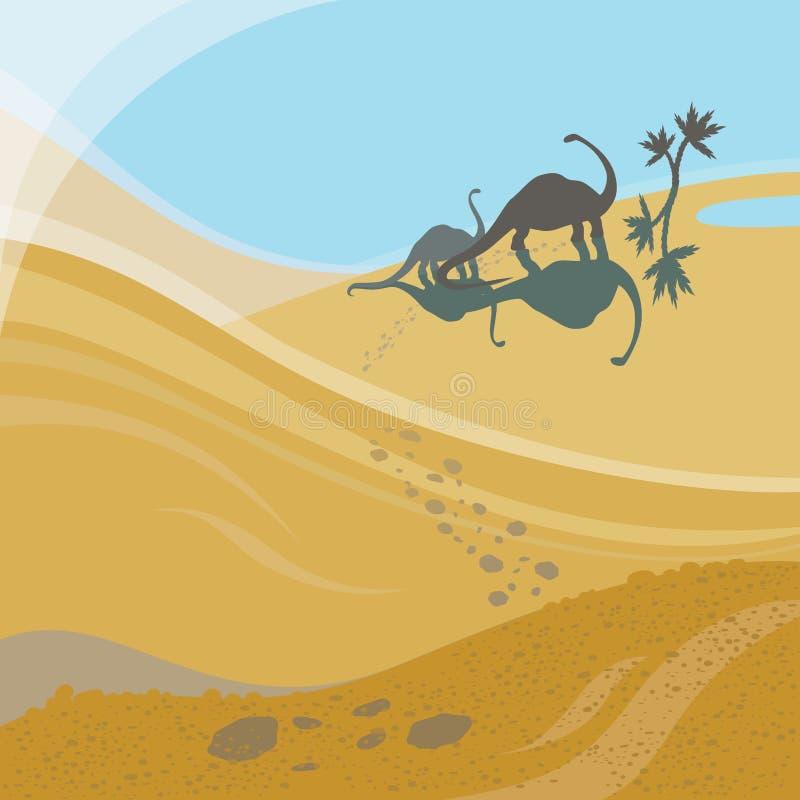 Dois Dinosaures de passeio ilustração royalty free