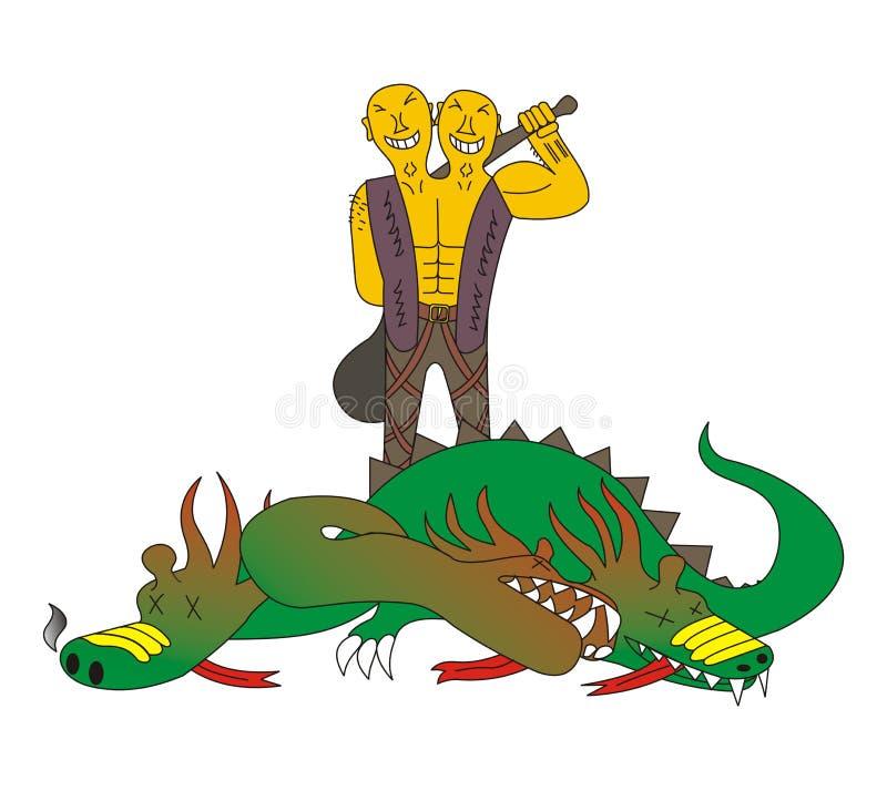 Dois dirigiram matanças do gigante um dragão ilustração royalty free