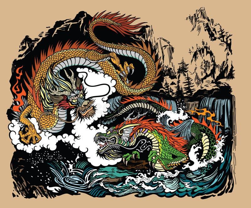 Dois dragões chineses na paisagem ilustração royalty free