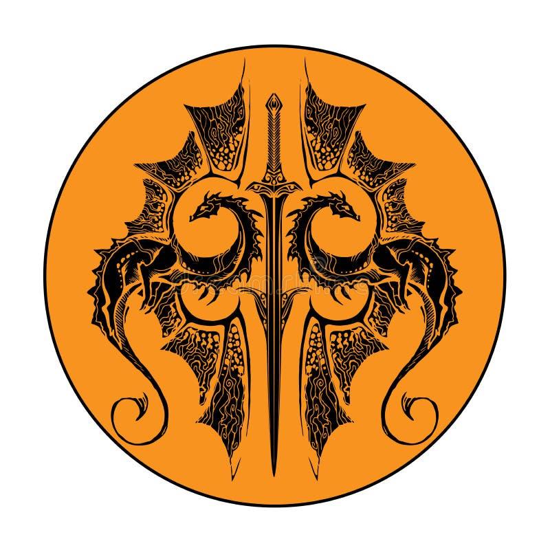 Dois dragões e espadas ilustração royalty free