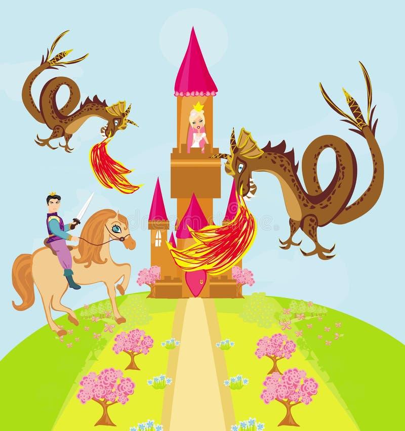 Dois dragões que atacam o castelo da princesa ilustração stock