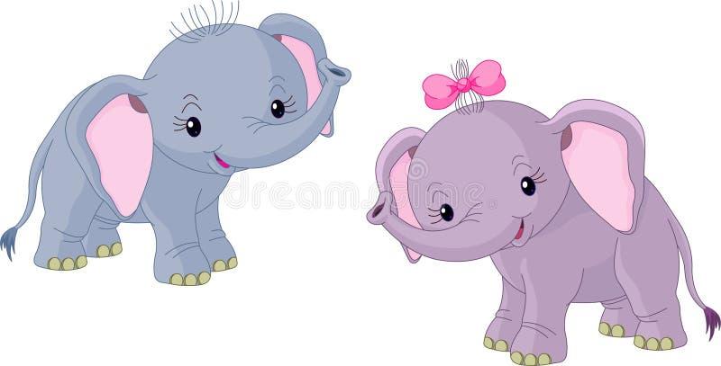 Dois elefantes dos bebês ilustração do vetor
