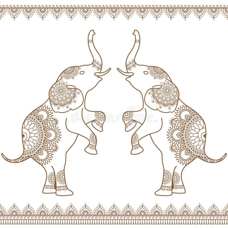 Dois elefantes que levantam-se com linha marrom sem emenda beiras da hena do laço no estilo indiano da hena do mehndi étnico ilustração stock