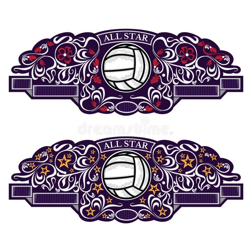 Dois emblemas com bola do voleibol no centro da bandeira violeta com teste padrão de prata Logotipo do esporte para alguma equipe ilustração stock