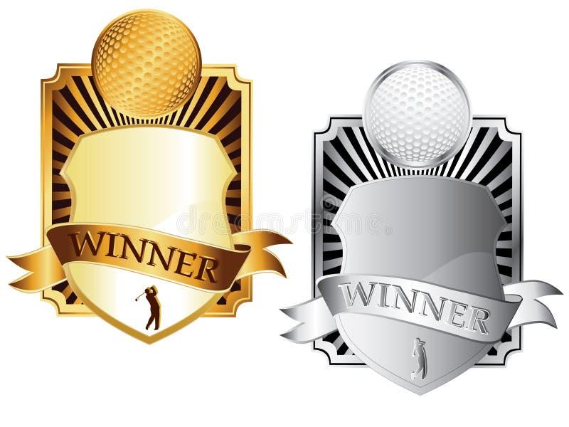 Dois emblemas do golfe ilustração royalty free