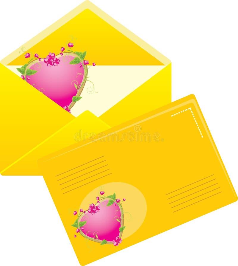 Dois envelopes amarelos ao dia dos Valentim ilustração stock