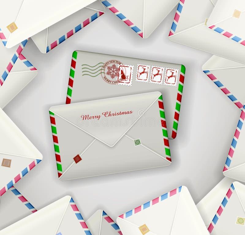 Dois envelopes na pilha de outra diária, envelopes do correio do Natal do correio do feriado, ilustração do vetor