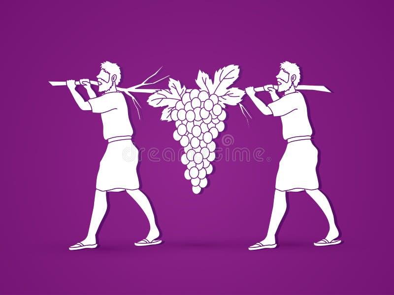 Dois espiões de uvas levando de Israel de Canaan ilustração royalty free