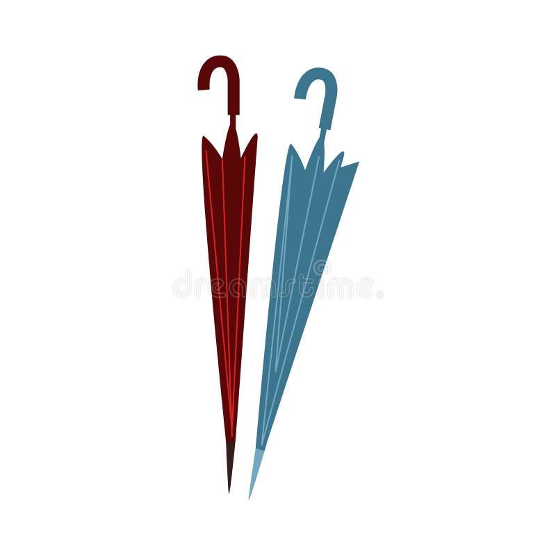 Dois estilizaram guarda-chuvas fechados, dobrados, rolados ilustração stock