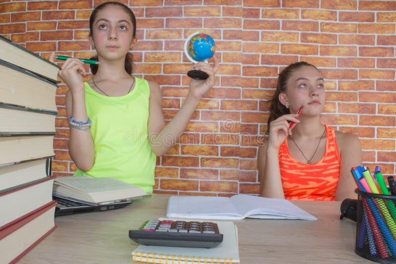 Dois estudante atrativo novo Girls que estuda lições imagem de stock