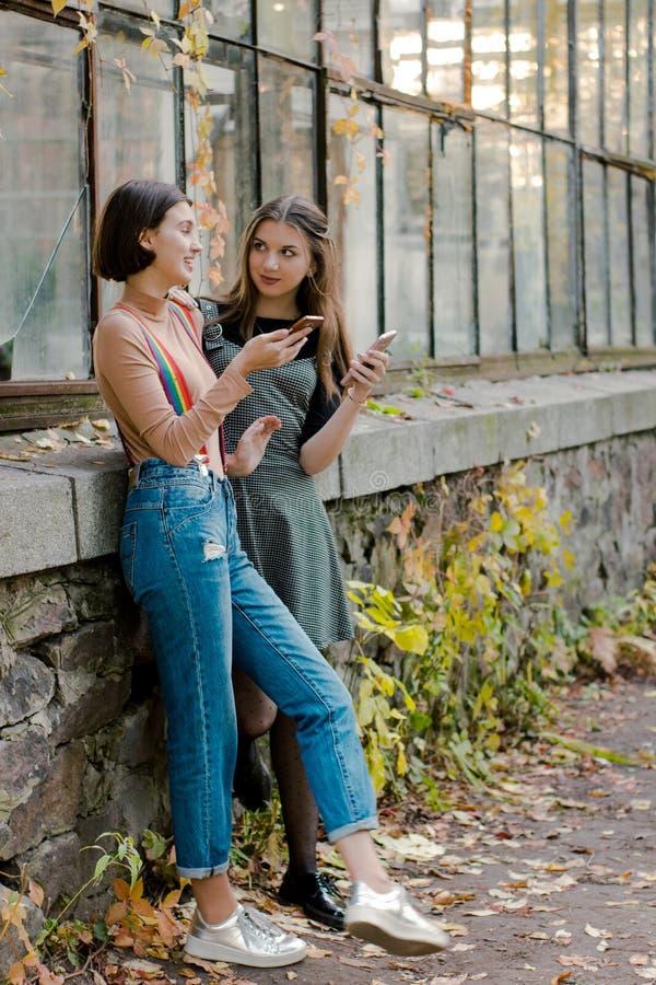 Dois estudantes com os telefones no parque do outono fotos de stock