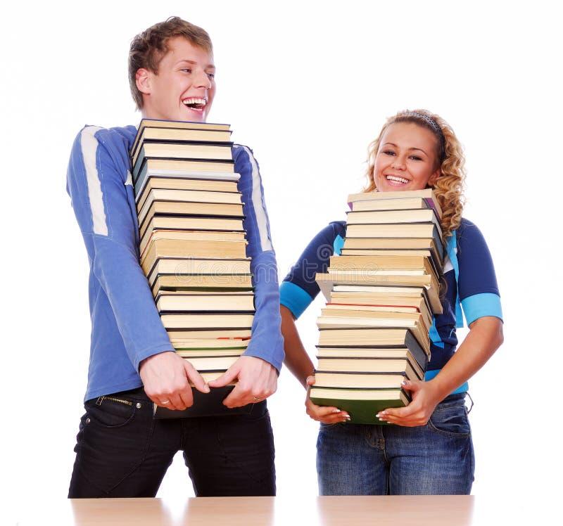 Dois estudantes engraçados imagens de stock