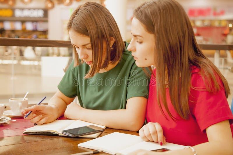 Dois estudantes fêmeas novos que estudam junto Melhores amigos felizes fotografia de stock