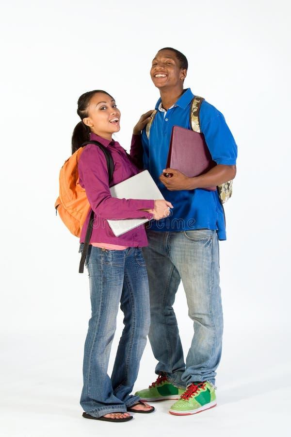 Dois estudantes felizes - vertical foto de stock
