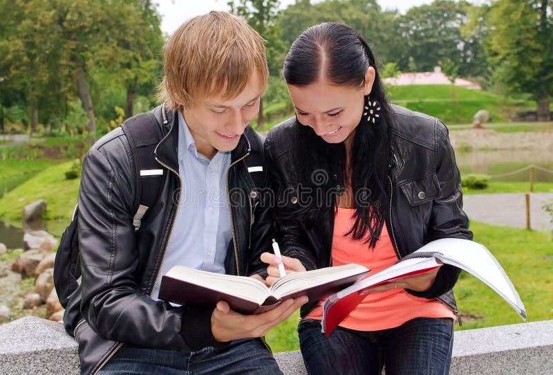 Download Dois Estudantes Que Estudam Ao Ar Livre Imagem de Stock - Imagem de outono, nave: 26516815