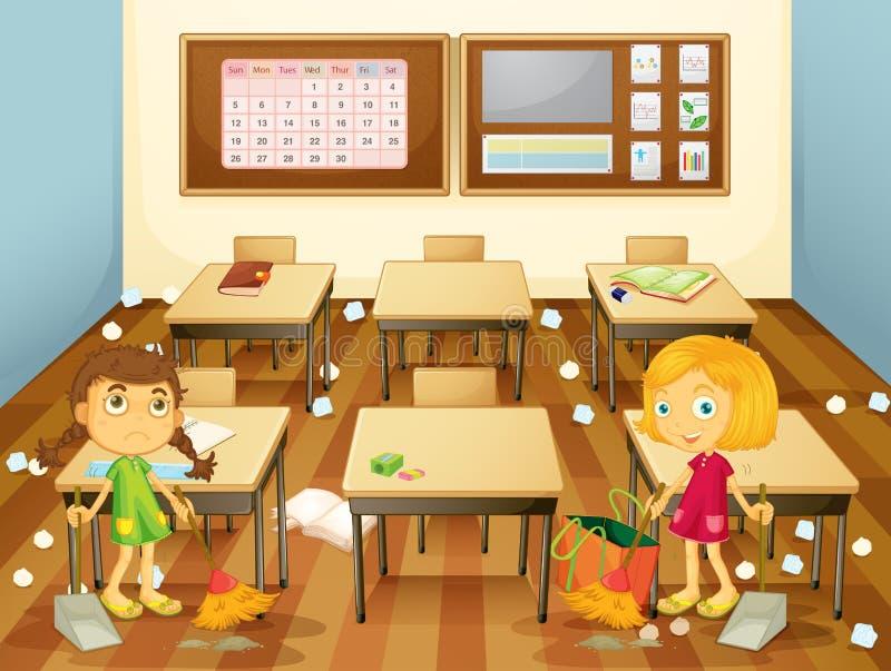 Dois estudantes que limpam a sala de aula ilustração royalty free