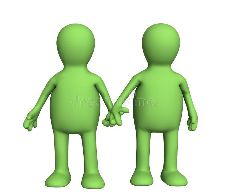 Dois fantoches que mantêm-se para as mãos ilustração stock
