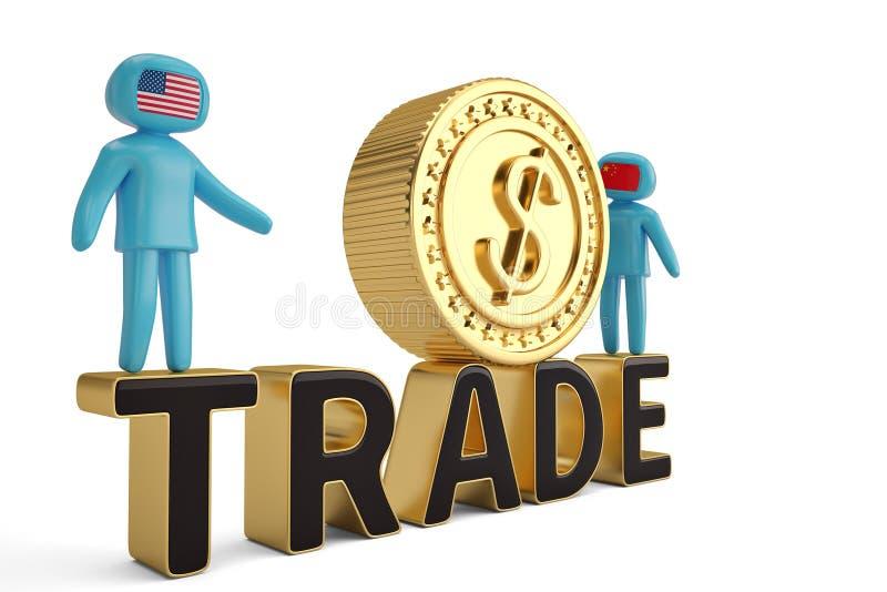 Dois figura povos na palavra de comércio e no illustratio grande da moeda de ouro 3D ilustração do vetor