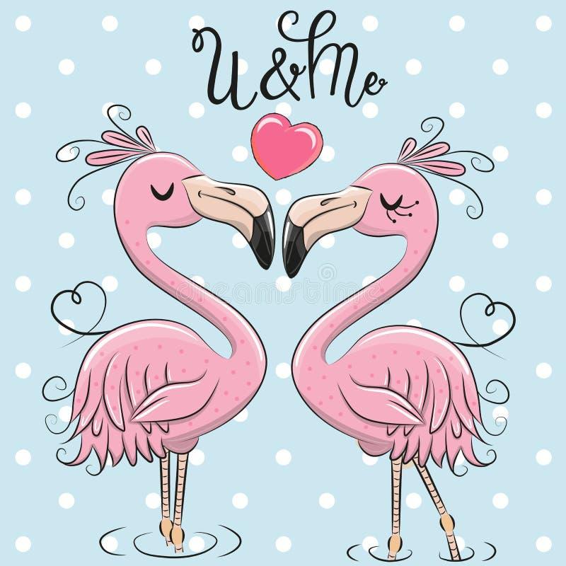 Dois flamingos bonitos em um fundo azul