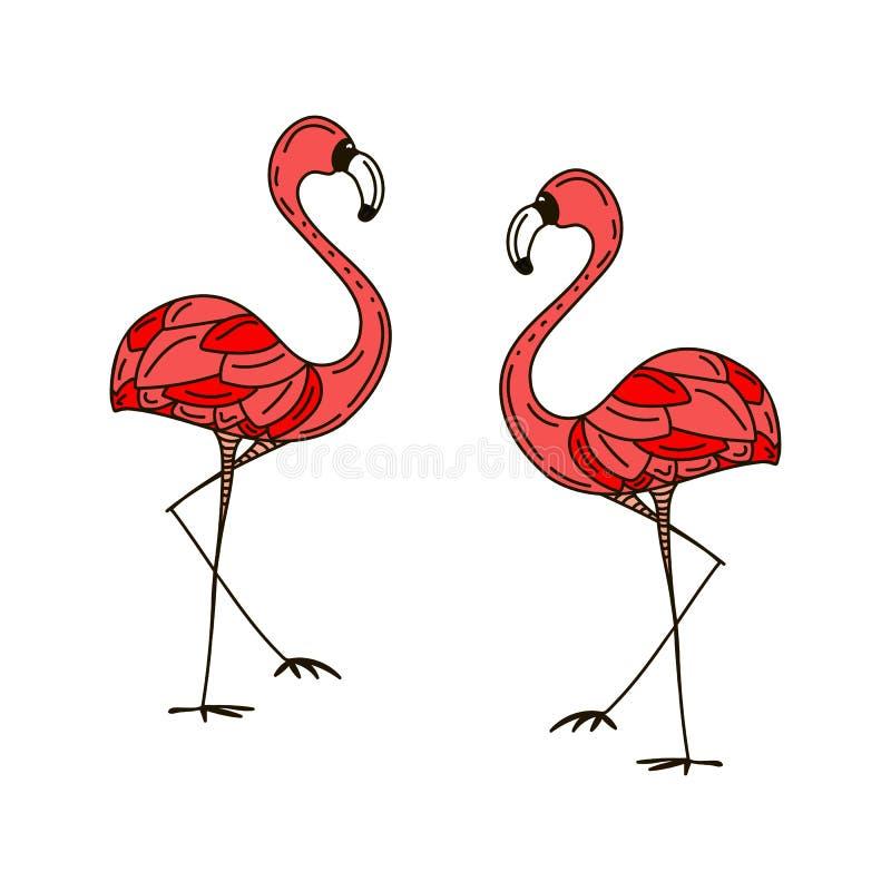 Dois flamingos cor-de-rosa no amor caráteres brilhantes ilustração royalty free
