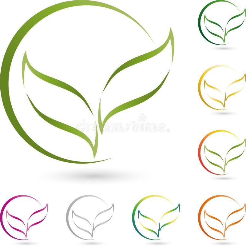 Dois folhas, plantas e círculos, naturezas e jardineiro Logo ilustração stock