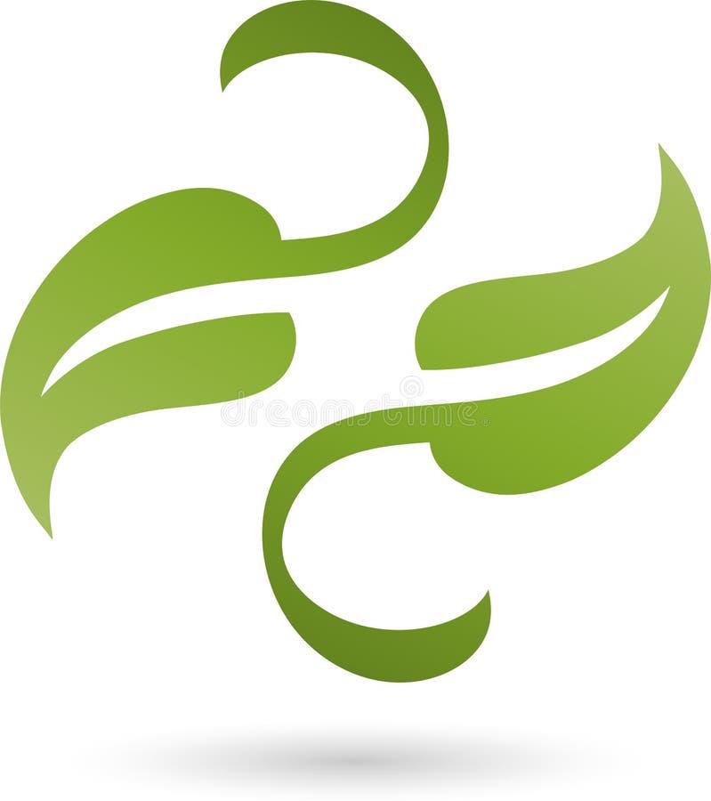 Dois folhas, plantas, naturezas e jardineiro Logo ilustração do vetor