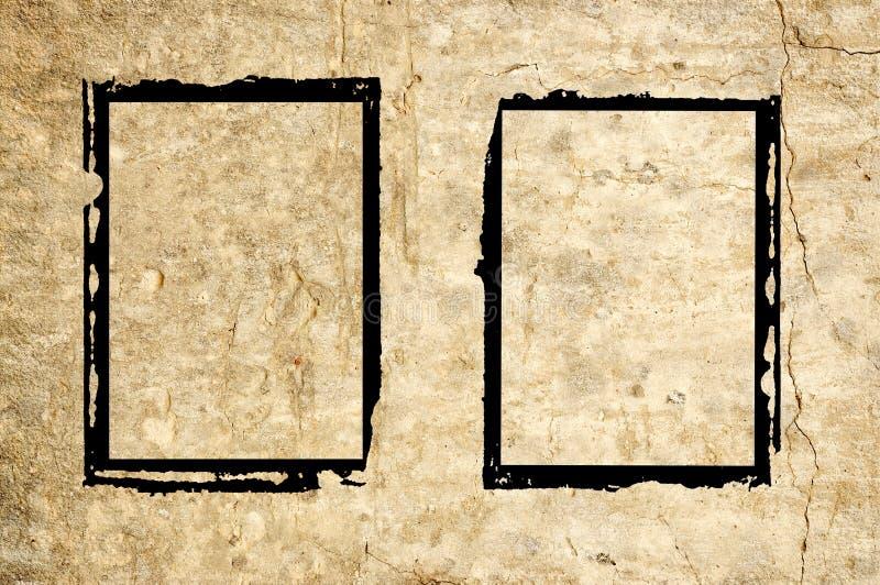 Dois frames do grunge na parede fotografia de stock royalty free