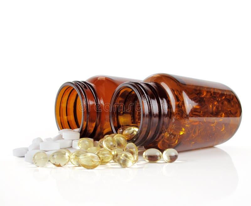 Dois frascos da vitamina imagens de stock royalty free