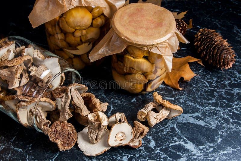 Dois frascos de vidro com os cogumelos selvagens no fundo de mármore preto fotografia de stock