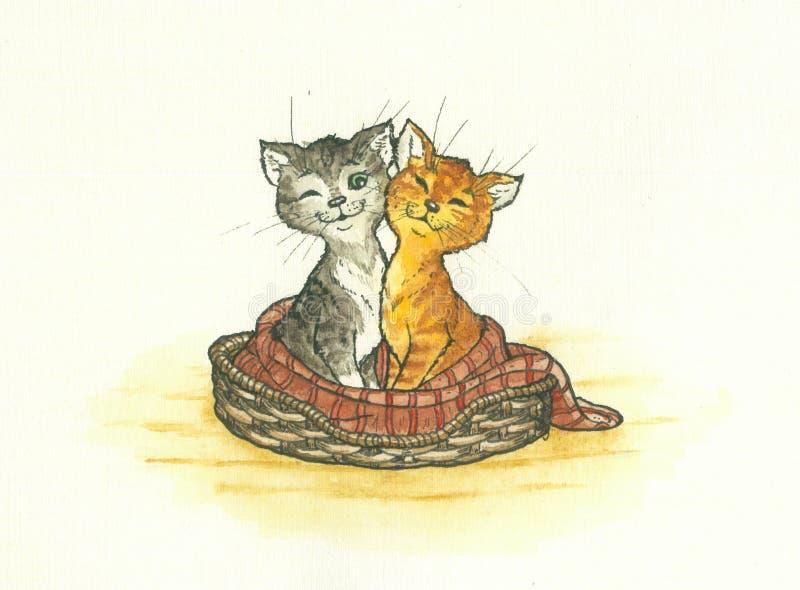 Dois gatinhos ilustração do vetor