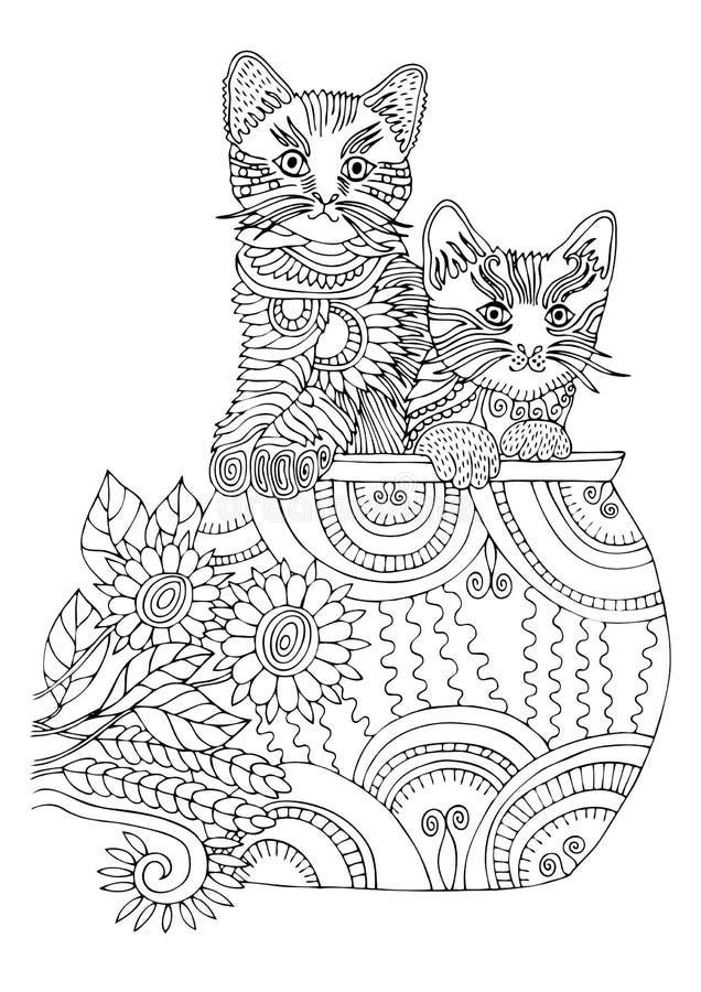 Dois gatinhos no copo Gato desenhado mão Esboço para a página da coloração do anti-esforço fotografia de stock royalty free