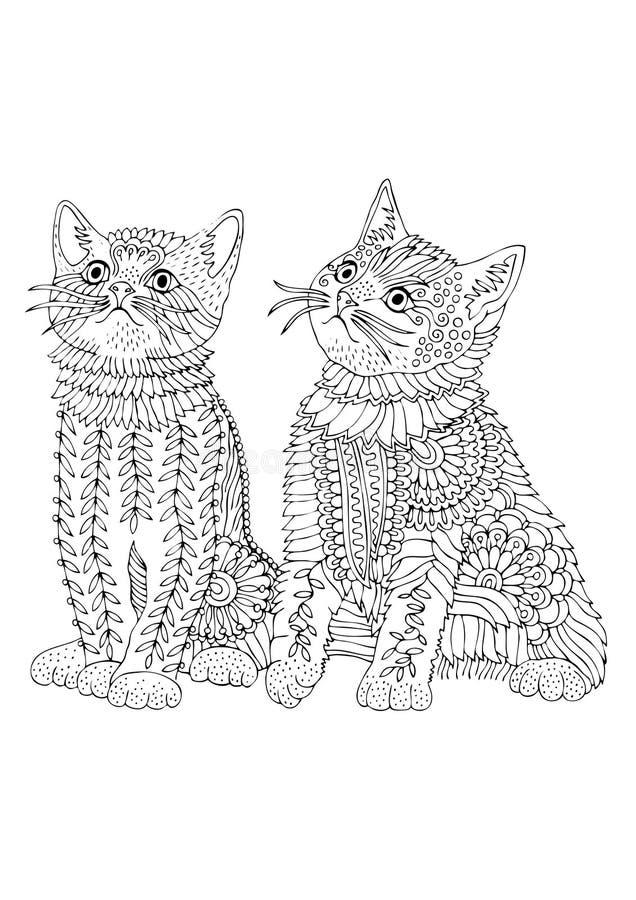 Dois gatinhos os mais bonitos Retrato desenhado mão Esboço para a página da coloração do anti-esforço ilustração stock