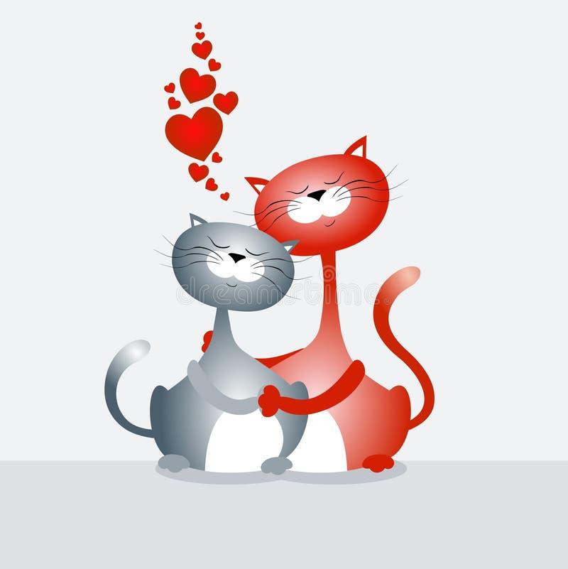Dois gatos ilustração royalty free