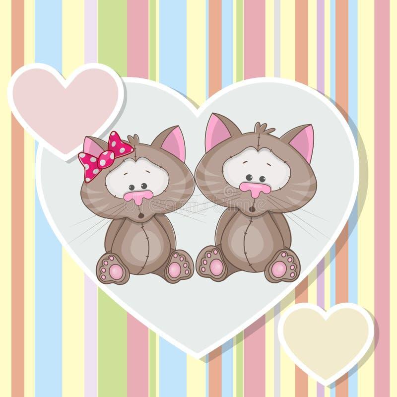 Dois gatos ilustração do vetor