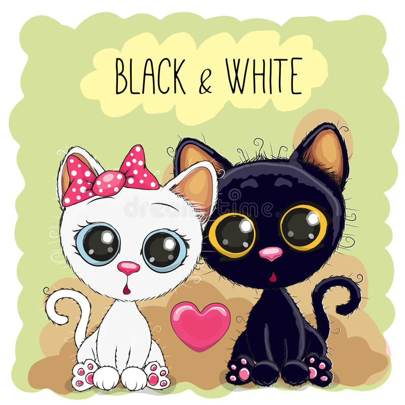 Dois gatos bonitos ilustração royalty free