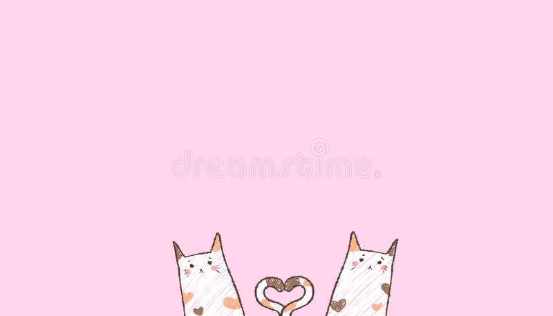 Dois gatos de cora são chain suas caudas na forma do coração ilustração royalty free
