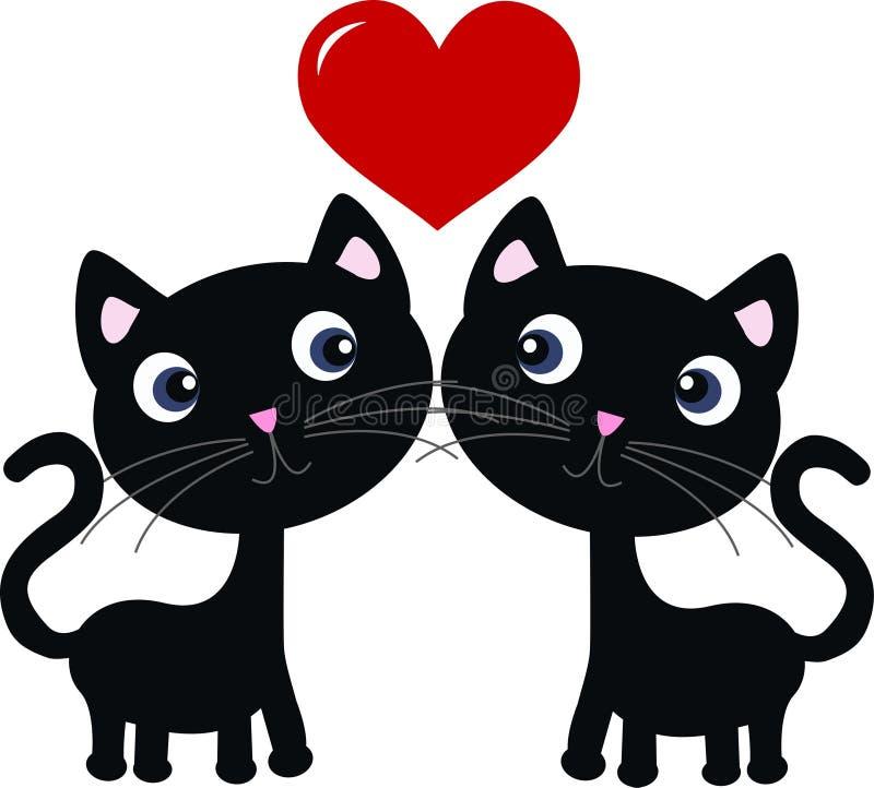 Dois gatos doces no amor ilustração do vetor