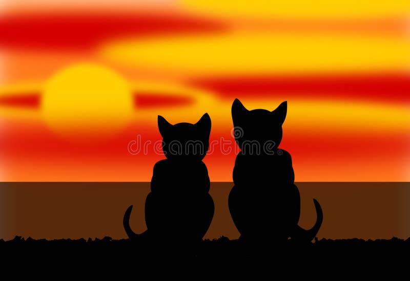 Dois gatos pelo mar em um por do sol ilustração royalty free