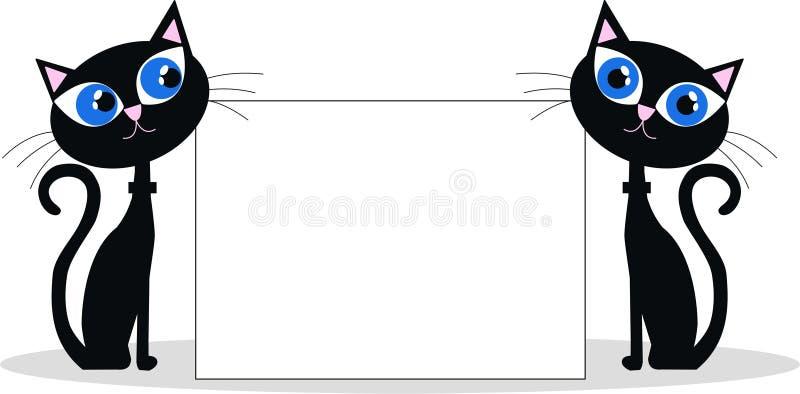 Dois gatos pretos ilustração do vetor