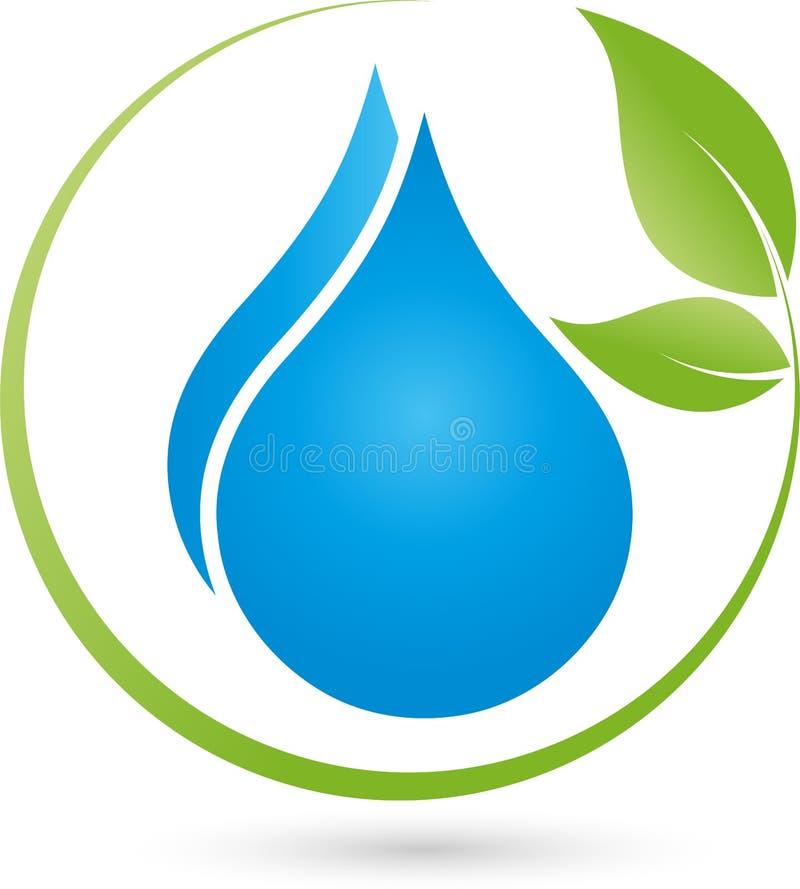 Dois gotas e logotipos das folhas, da água e do bem-estar ilustração royalty free