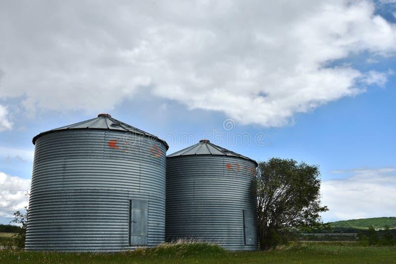 Dois grandes silos de grão do metal foto de stock
