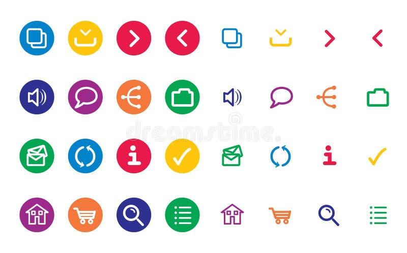 Ícones brilhantes da Web fotos de stock